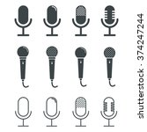 microphone icons on white...