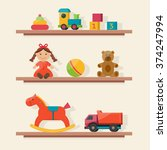 Baby Toys Icons On Shelf. Flat...
