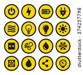 electric icons set. yellow... | Shutterstock .eps vector #374257798