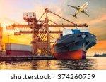 container cargo freight ship... | Shutterstock . vector #374260759