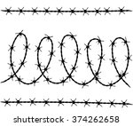 vector set of barbed wire...