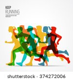 running marathon  people run ... | Shutterstock .eps vector #374272006