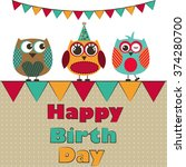 birthday owl girls vector | Shutterstock .eps vector #374280700