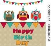 birthday owl girls vector | Shutterstock .eps vector #374280700