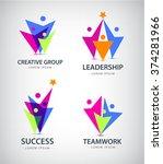 set of vector men  human logos  ... | Shutterstock .eps vector #374281966