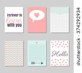 set of valentine's day cards... | Shutterstock .eps vector #374292934