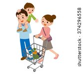 family in shopping | Shutterstock .eps vector #374296558
