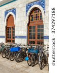 Small photo of ISTANBUL, TURKEY - SEPTEMBER 16, 2009: A row of bikes parked at the port of Big Island (Buyuk Ada)