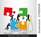 puzzle and people illustration | Shutterstock .eps vector #374303434