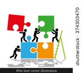 puzzle and people illustration | Shutterstock .eps vector #374303470