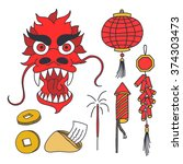doodle icons. chinese new year. ... | Shutterstock .eps vector #374303473