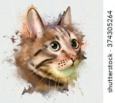 Watercolor Cat Paint Splatter ...