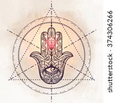 ornate hand drawn hamsa.... | Shutterstock .eps vector #374306266