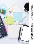 opened notebook with blank...   Shutterstock . vector #374306908