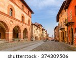 colorful houses and cobbled... | Shutterstock . vector #374309506
