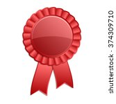 red color blank award rosette... | Shutterstock .eps vector #374309710