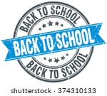 back to school blue round... | Shutterstock .eps vector #374310133