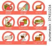 pregnancy prohibited food | Shutterstock .eps vector #374311216