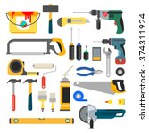 working tools vector set. tools ... | Shutterstock .eps vector #374311924