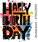 happy birthday to you text as... | Shutterstock .eps vector #374312053