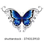 tattoo blue butterfly decorated ... | Shutterstock .eps vector #374313910