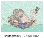 Cute Swan With Crown And...