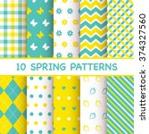 set of spring patterns | Shutterstock .eps vector #374327560