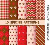 set of spring patterns | Shutterstock .eps vector #374327569
