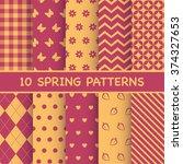 set of spring patterns | Shutterstock .eps vector #374327653