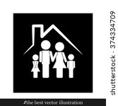 family and house icon | Shutterstock .eps vector #374334709