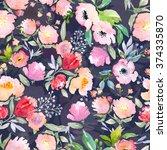 watercolor floral botanical...   Shutterstock . vector #374335870