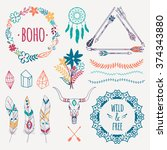 vector ethnic set with arrows ... | Shutterstock .eps vector #374343880