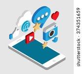 social media flat 3d isometric... | Shutterstock .eps vector #374351659