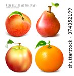 collection of fresh ripe fruits.... | Shutterstock .eps vector #374352199