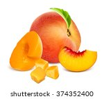 ripe peaches  whole and slices. ... | Shutterstock .eps vector #374352400