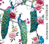 Watercolor Pattern Peacock...