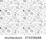 seamless pattern. cosmic... | Shutterstock .eps vector #374358688