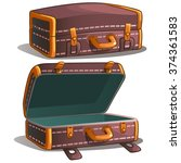 brown leather suitcase for... | Shutterstock .eps vector #374361583