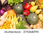 colorful fruits and vegetables... | Shutterstock . vector #374368594