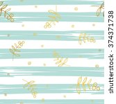 gold floral elements on stripe... | Shutterstock .eps vector #374371738