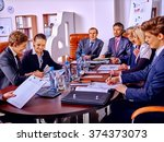 happy group business people... | Shutterstock . vector #374373073
