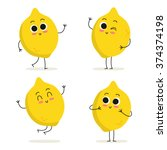 lemon. cute fruit vector... | Shutterstock .eps vector #374374198