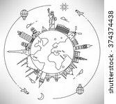 Linear World Landmarks | Shutterstock vector #374374438