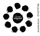 set of black round blots and... | Shutterstock .eps vector #374379748
