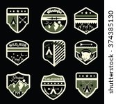 set of mountain badges and logo ... | Shutterstock .eps vector #374385130