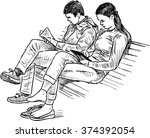 students on the park bench | Shutterstock .eps vector #374392054