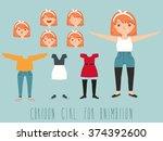 hipster girl. character... | Shutterstock .eps vector #374392600