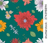 flowers pattern seamless. hand... | Shutterstock .eps vector #374398894