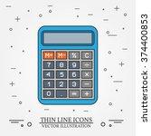 calculator thin line design. ... | Shutterstock .eps vector #374400853