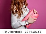 elegant girl with pink leather... | Shutterstock . vector #374410168